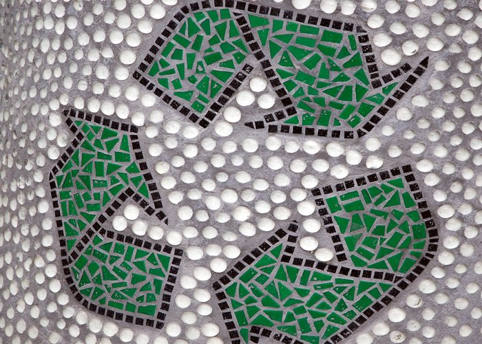 Image of Reduce Reuse Recycle symbol in mosaic