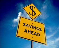 Image of road sign that reads-savings ahead