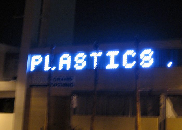 Image of electronic sign that reads PLASTICS